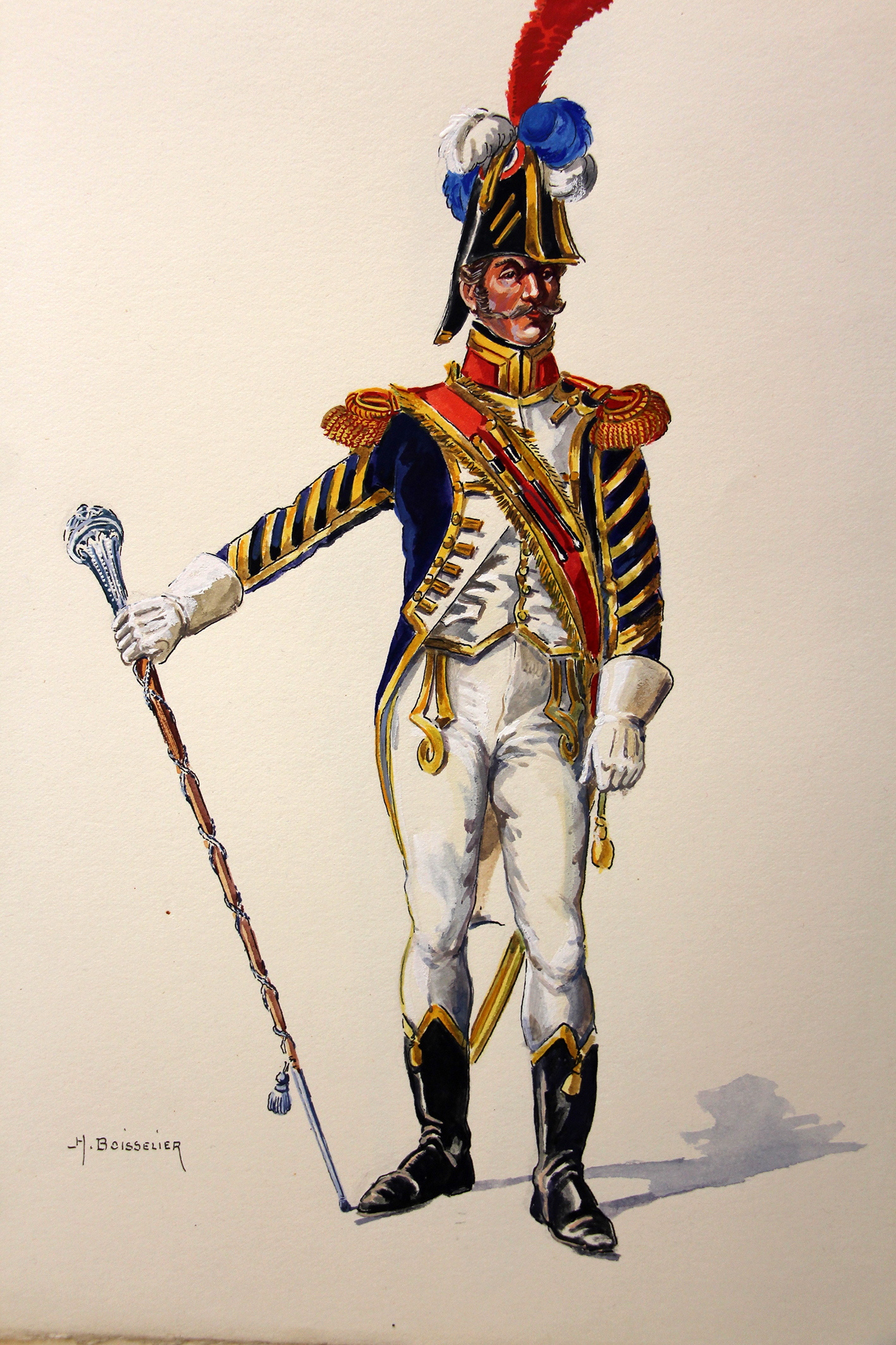 Superbe et Grande Peinture Encre et Gouache originale - Henry Boisselier - Tambour-Major d'infanterie de ligne - Camp de Dresde - 1er Empire - Napoléon 1er
