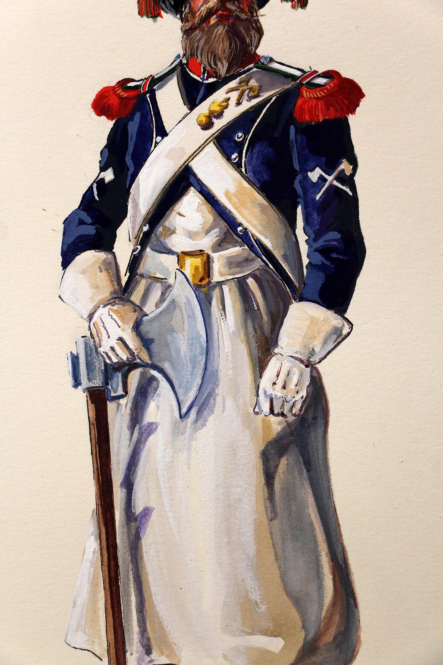 Superbe et Grande Peinture Encre et Gouache originale - Henry Boisselier - Sapeur d'infanterie légère - Camp de Dresde - 1er Empire - Napoléon 1er
