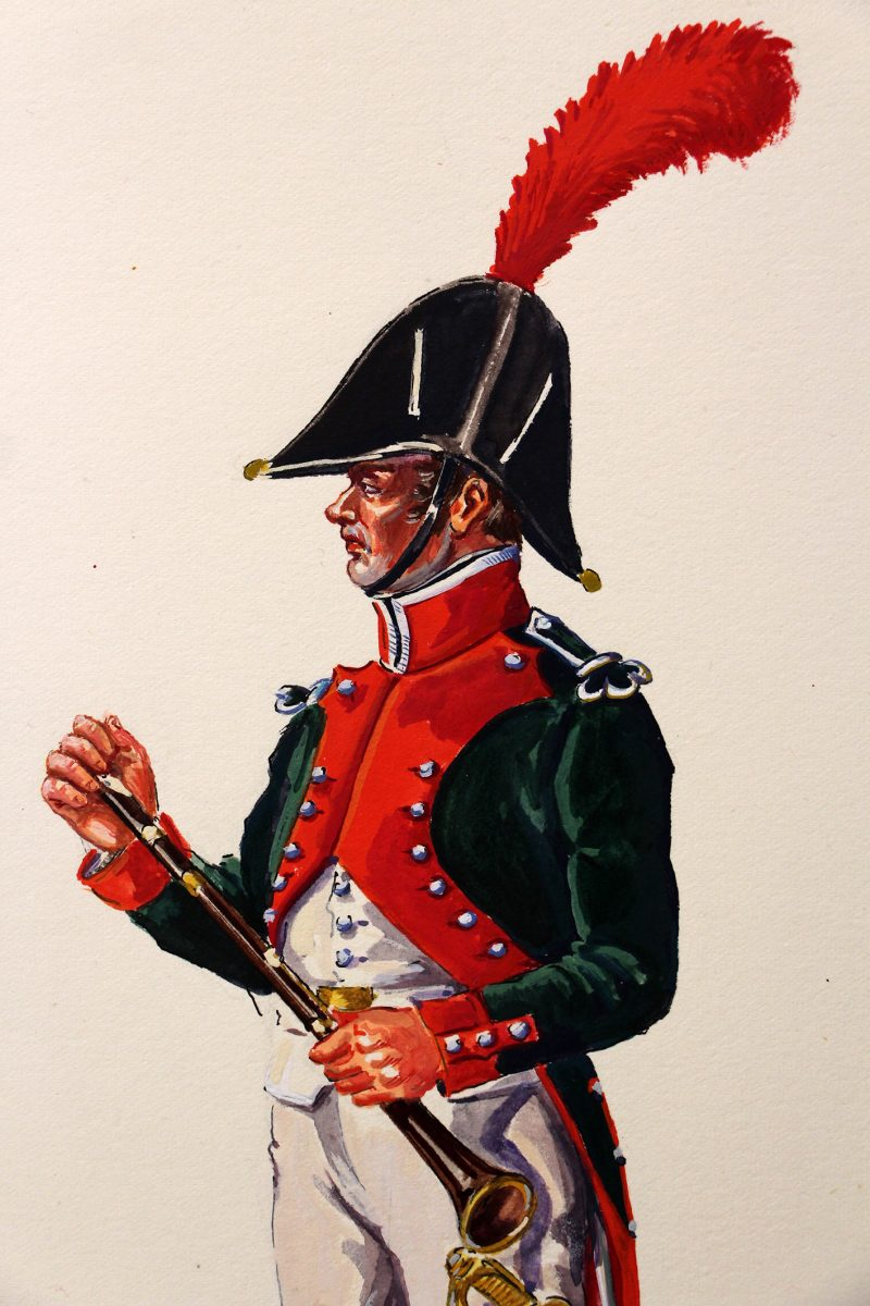 Superbe et Grande Peinture Encre et Gouache originale - Henry Boisselier - Musicien de dragons - Camp de Dresde - 1er Empire - Napoléon 1er