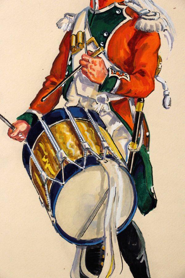 Superbe et Grande Peinture Encre et Gouache originale - Henry Boisselier - Tambour du 29e dragons : aquarelle du Colonel Jolly - 1er Empire - Napoléon 1er