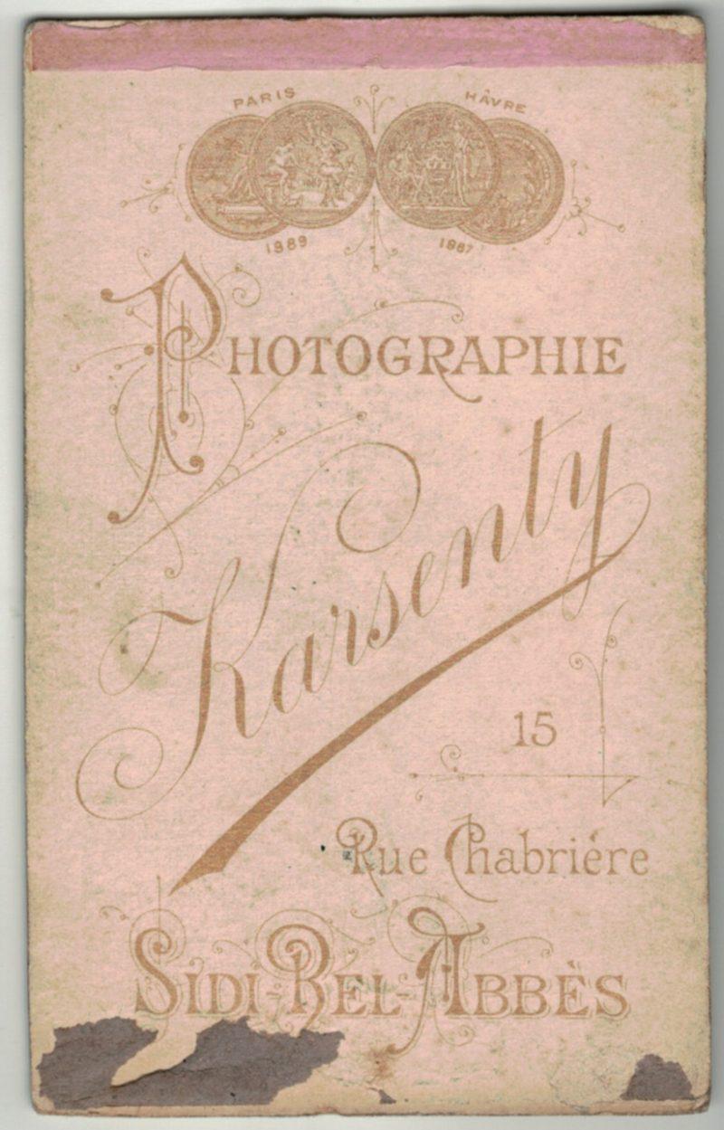 CDV Soldat Français - 1 Régiment Infanterie - 3ème République - Baïonnette - Médaille - Photographie Sidi Bel Abbès - Algerie Karsenty