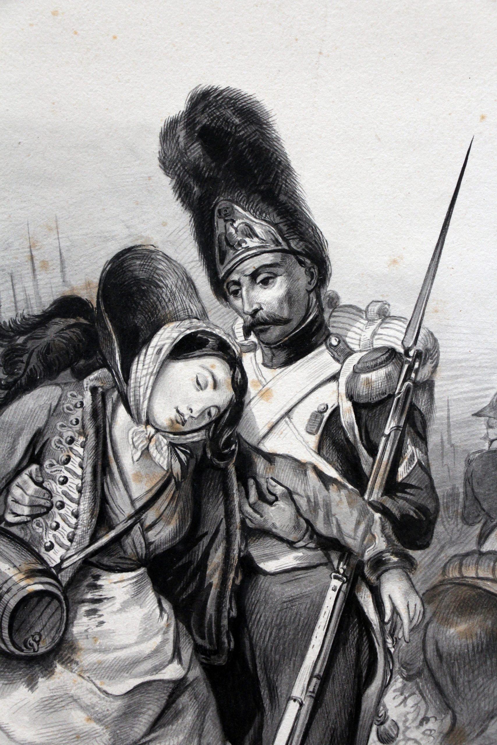 Grand dessin plume encre original - Scène 1814 - Invasion France - Napoléon 1er - 1er Empire - Grenadier Garde - Craonne - 1814 - Cantinière