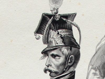 Grand dessin plume encre original - Scène 1814 - Invasion France - Napoléon 1er - 1er Empire - Grenadier Garde - Craonne - 1814 - Lancier