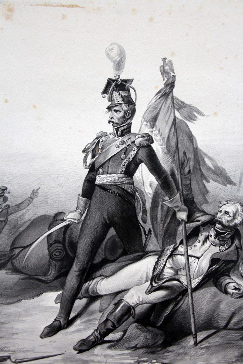 Grand dessin plume encre original - Scène 1814 - Invasion France - Napoléon 1er - 1er Empire - Grenadier Garde - Craonne - 1814 - Lancier