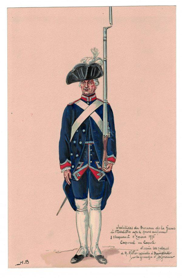 Peinture originale rehaussée - Invalides du bureau de la Guerre à Versailles - Henry Boisselier - Gouache - 1776 Uniforme