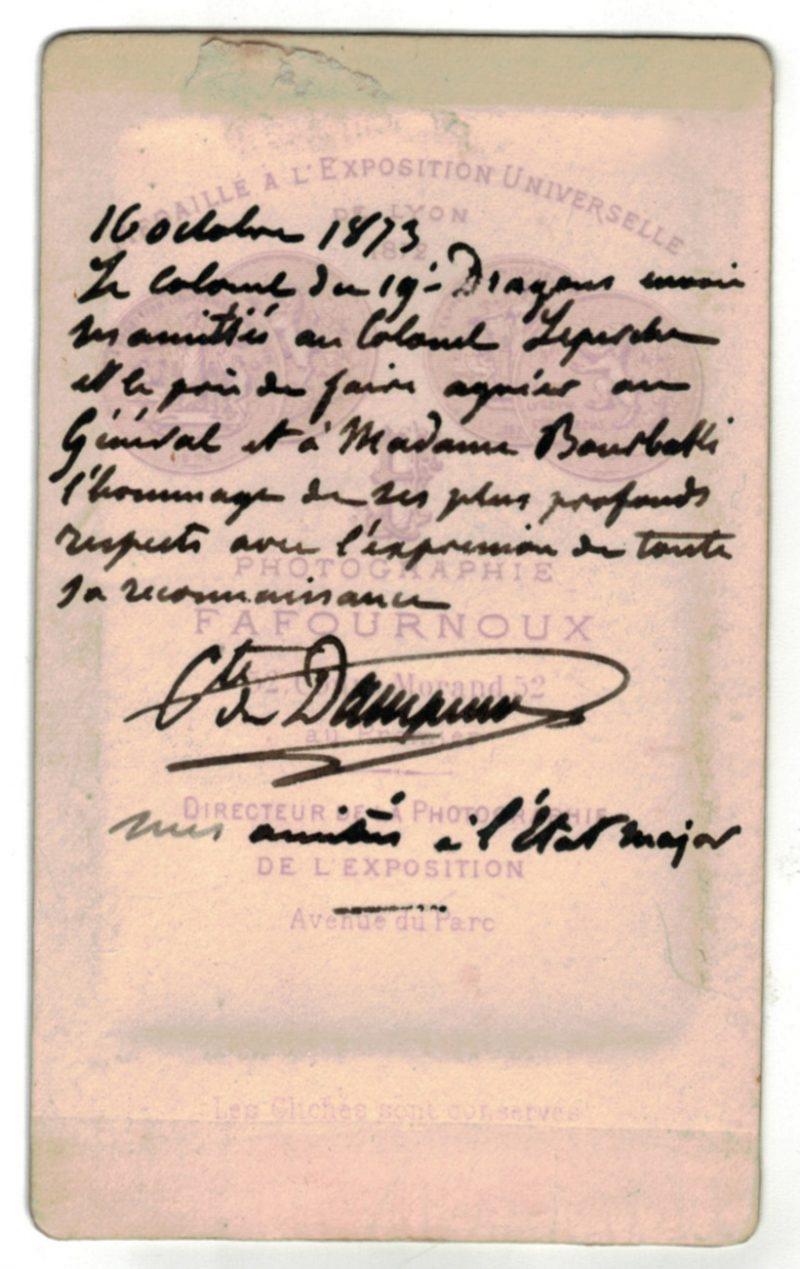 CDV - Cabinet Card - 3éme République Colonel du 19e Dragons 1873 - Colonel Comte de Damier - Guerre d'Italie - Sedan 1870 - Second Empire -