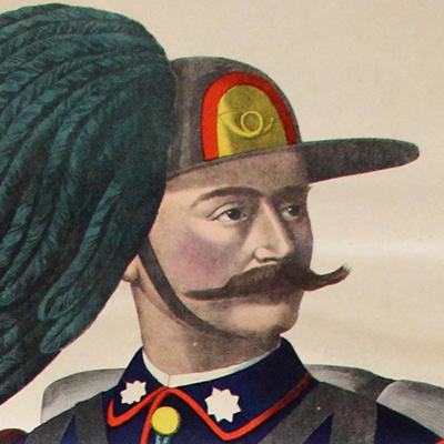 Grande planche dépliante Wissembourg Bersaglier - Bersaglieri - 1898 - Armée Italienne