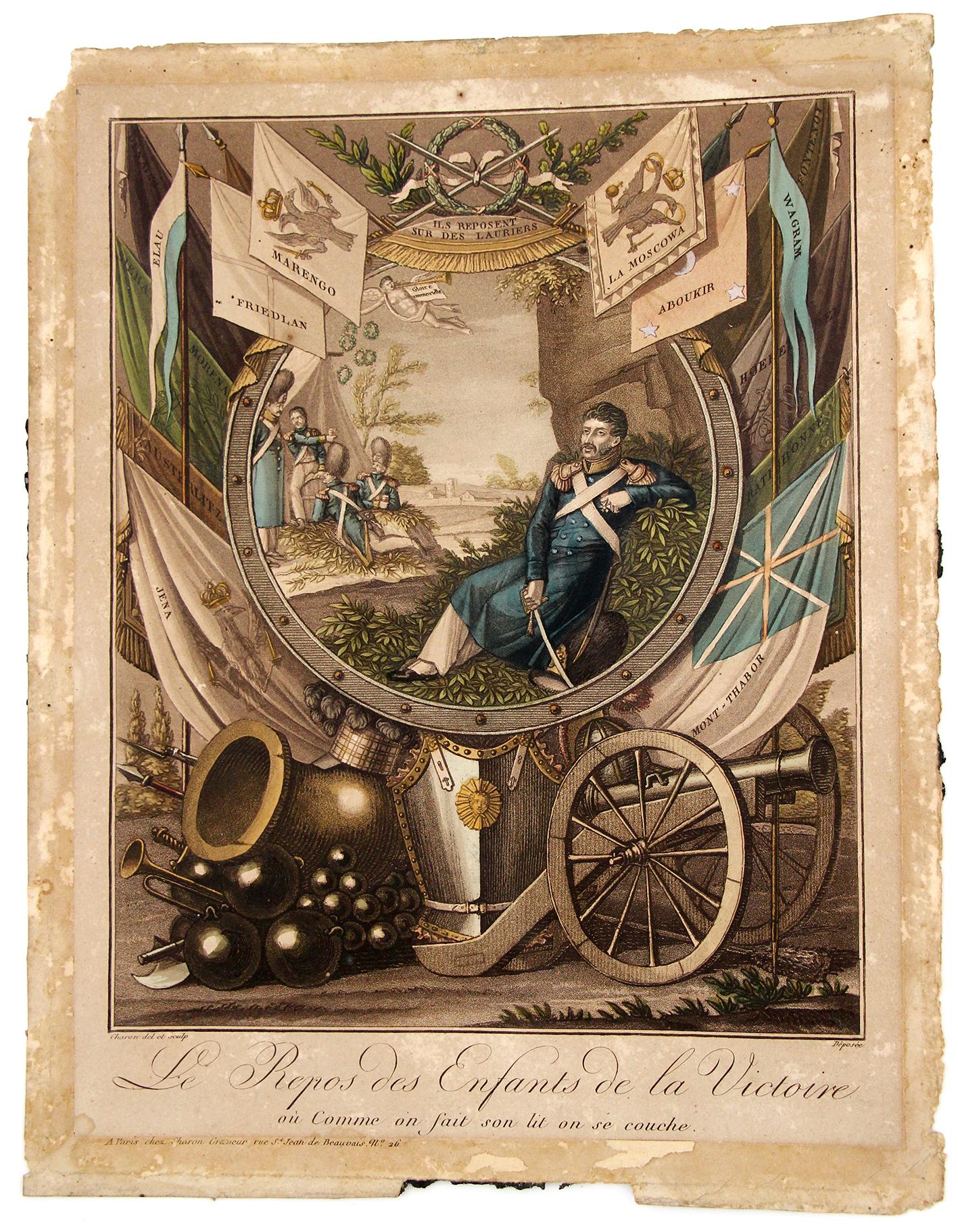 Gravure à la gloire du soldat Grenadier de la Garde et ses campagnes sous les ordres de Napoleon