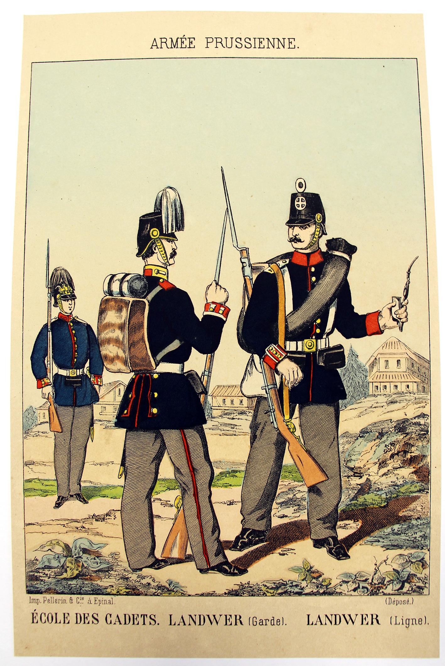 4 Gravures - Uniforme Prusse - Armée Second Empire - 1870 - Uniformes - Imagerie Epinal Pellerin - Imagerie Populaire -