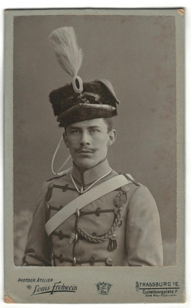 CDV Soldat Allemand / Alsacien - Armée Cavalerie - Grande tenue - Hussard - Sabre - Shapcka