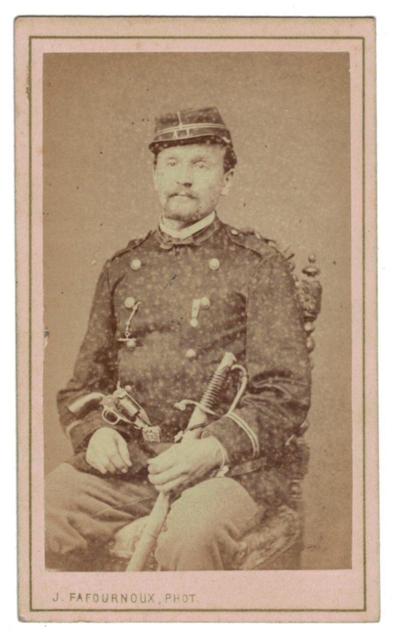 CDV Soldat Français - Mobile - Lyon - Second Empire - 3ème République - Officier - 1871 - Pistolet