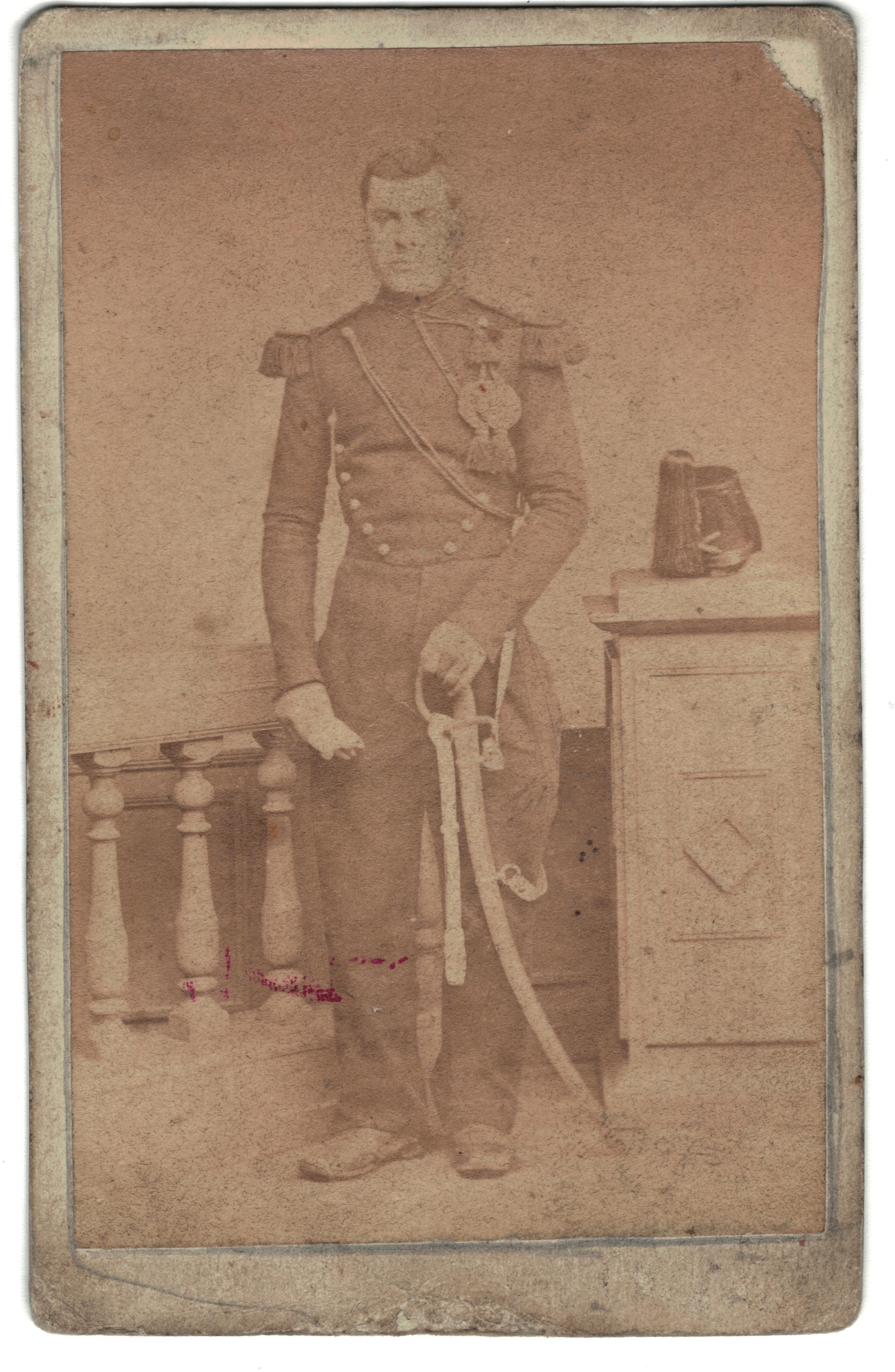 CDV Soldat Français - Artilleur - Uniforme - 2nd empire - Sabre - Shako
