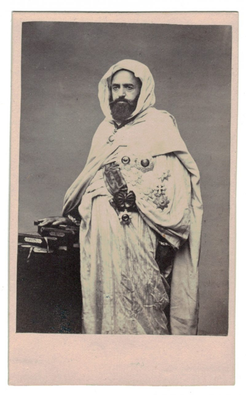 Abd-El-Kader vintage cdv albumen print, Abdelkader ibn Muhieddine. Conquête Algerie - Empire Français - Circa 1870