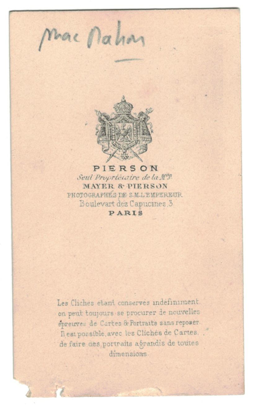 CDV - Cabinet Card - Second Empire - De Mac Mahon - Patrice de Mac Mahon - 1870 - Maréchal de France - Gouverneur en Algérie - Président de la République