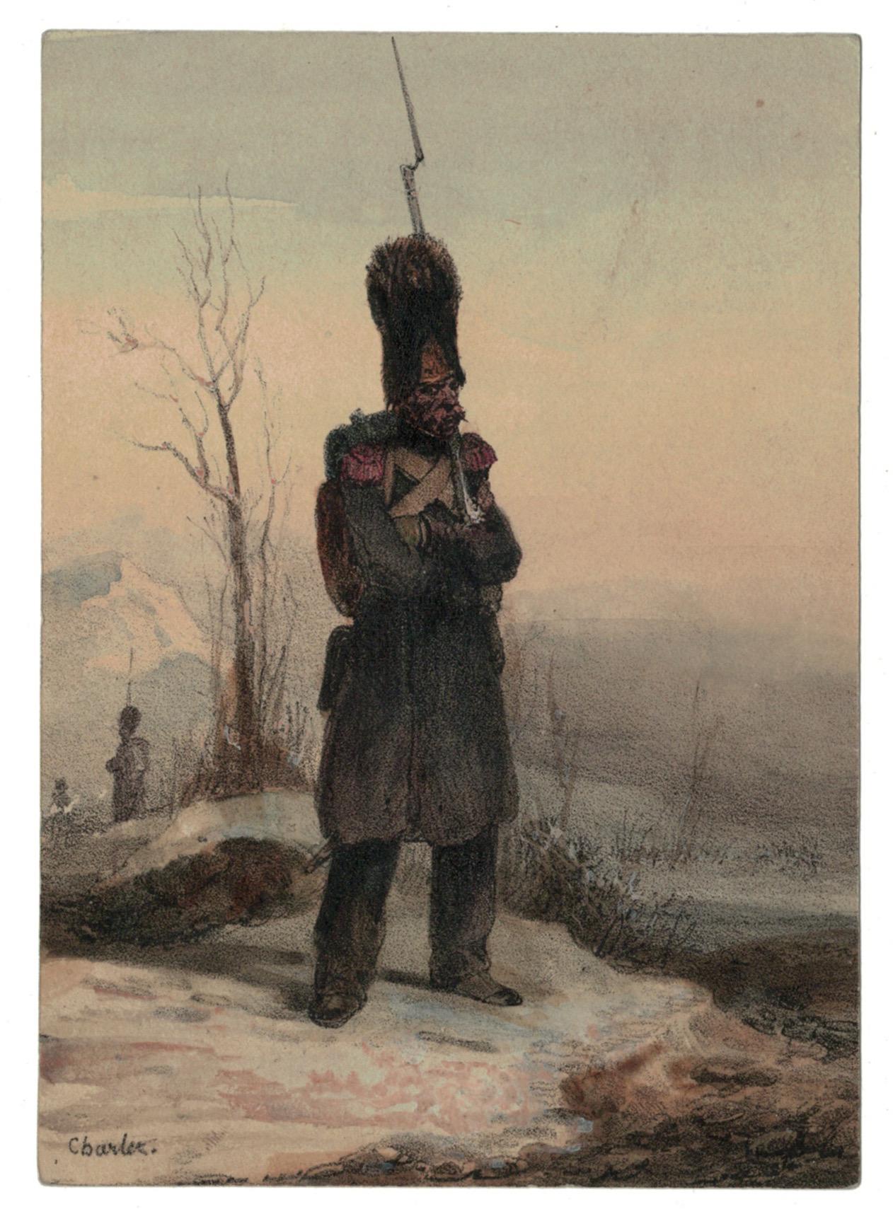 Gravure XIX - Cavalier - Empire 1815 - Charlet, Nicolas Toussaint - Hippolyte Bellangé - Victor Adam - Vie du Soldat - Militaire