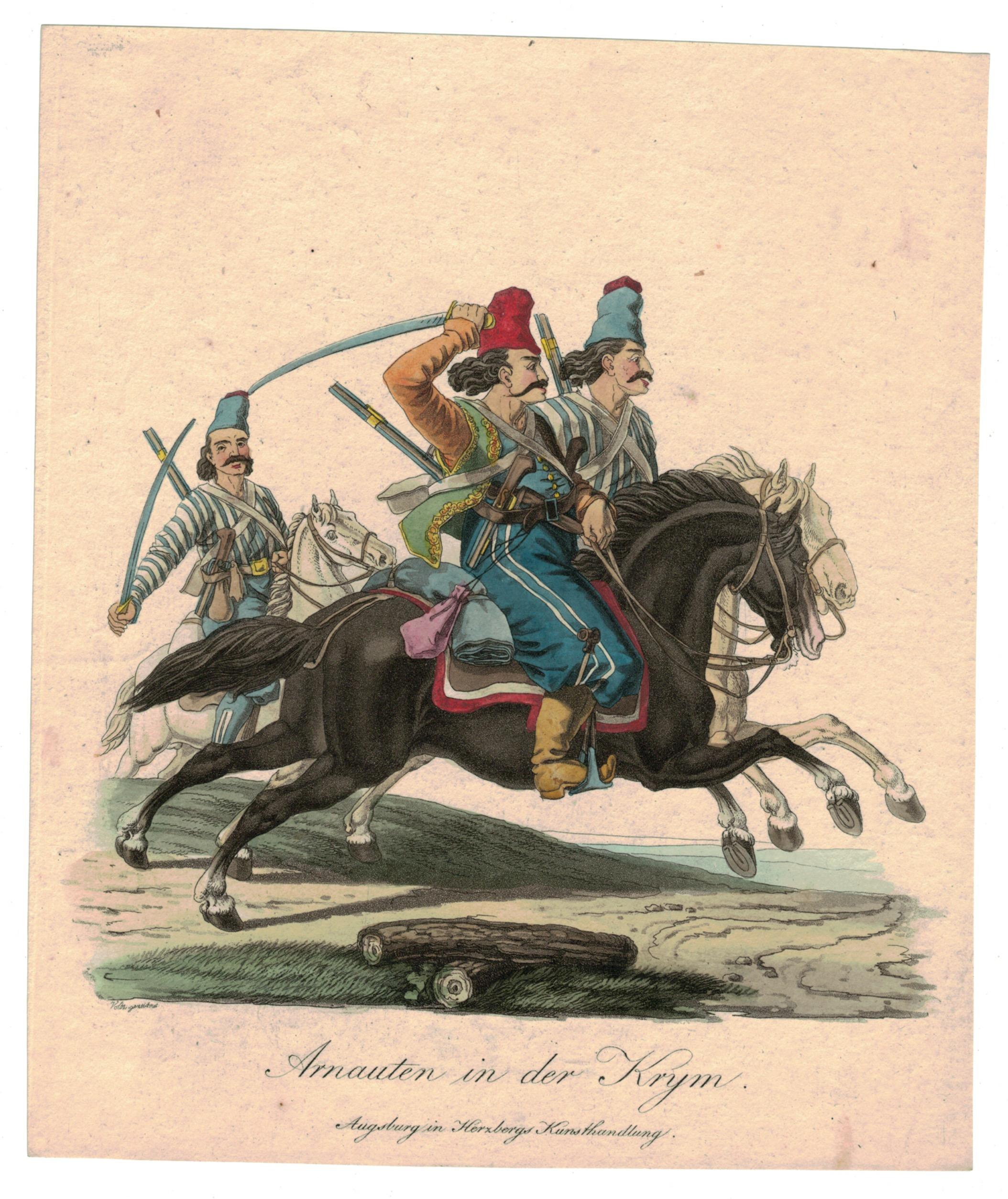 Gravure XIX - Cosaques - Russie - Cavalier - Guerres Napoléoniennes - 1812 - Napoléon I - Borodino - Arnauten in der Krym