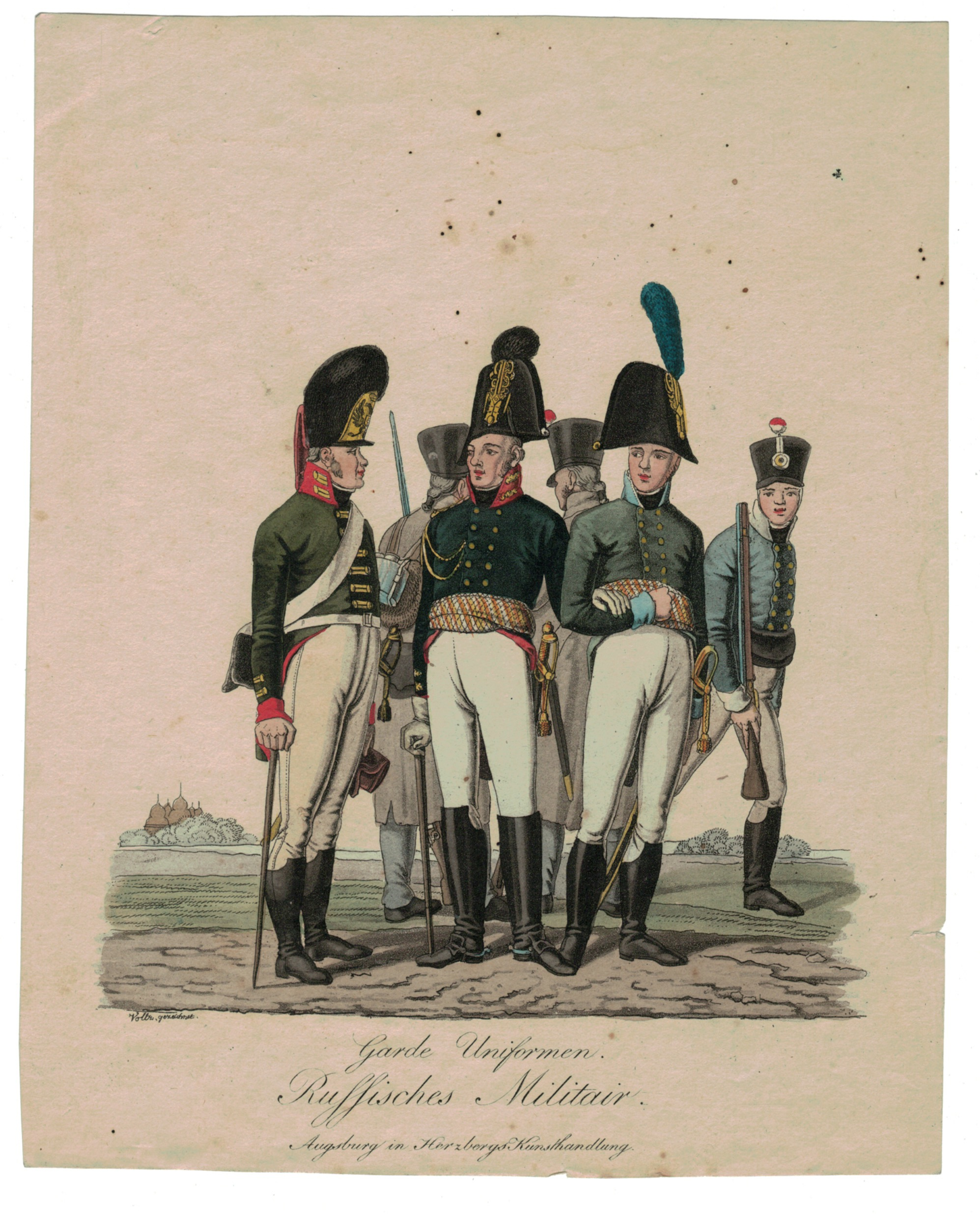 Gravure XIX - Armée Russe - Russie - Cavalier - Guerres Napoléoniennes - 1812 - Napoléon I - Borodino - Garde - Infanterie