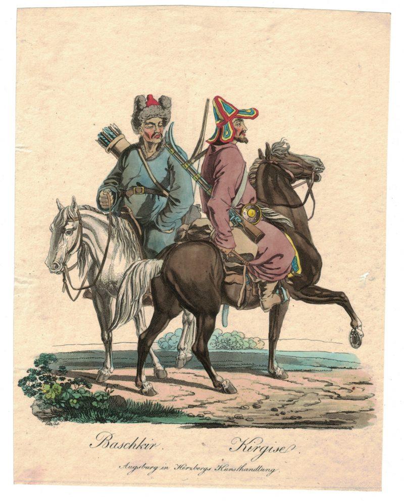 Gravure XIX - Cosaques - Russie - Cavalier - Guerres Napoléoniennes - 1812 - Napoléon I - Borodino - Bashkir - Kirgise