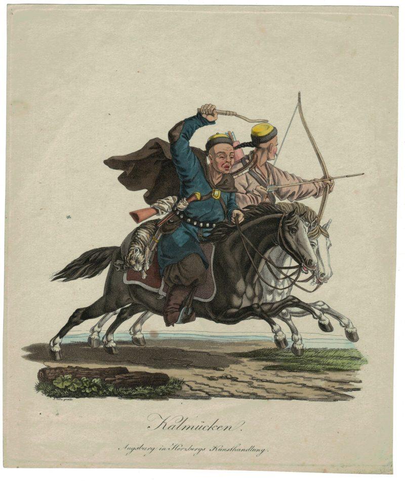 Gravure XIX - Cosaques - Russie - Cavalier - Guerres Napoléoniennes - 1812 - Napoléon I - Borodino - Kalmücken