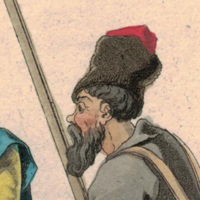 Gravure XIX - Cosaques - Russie - Cavalier - Guerres Napoléoniennes - 1812 - Napoléon I - Borodino - Cosaques