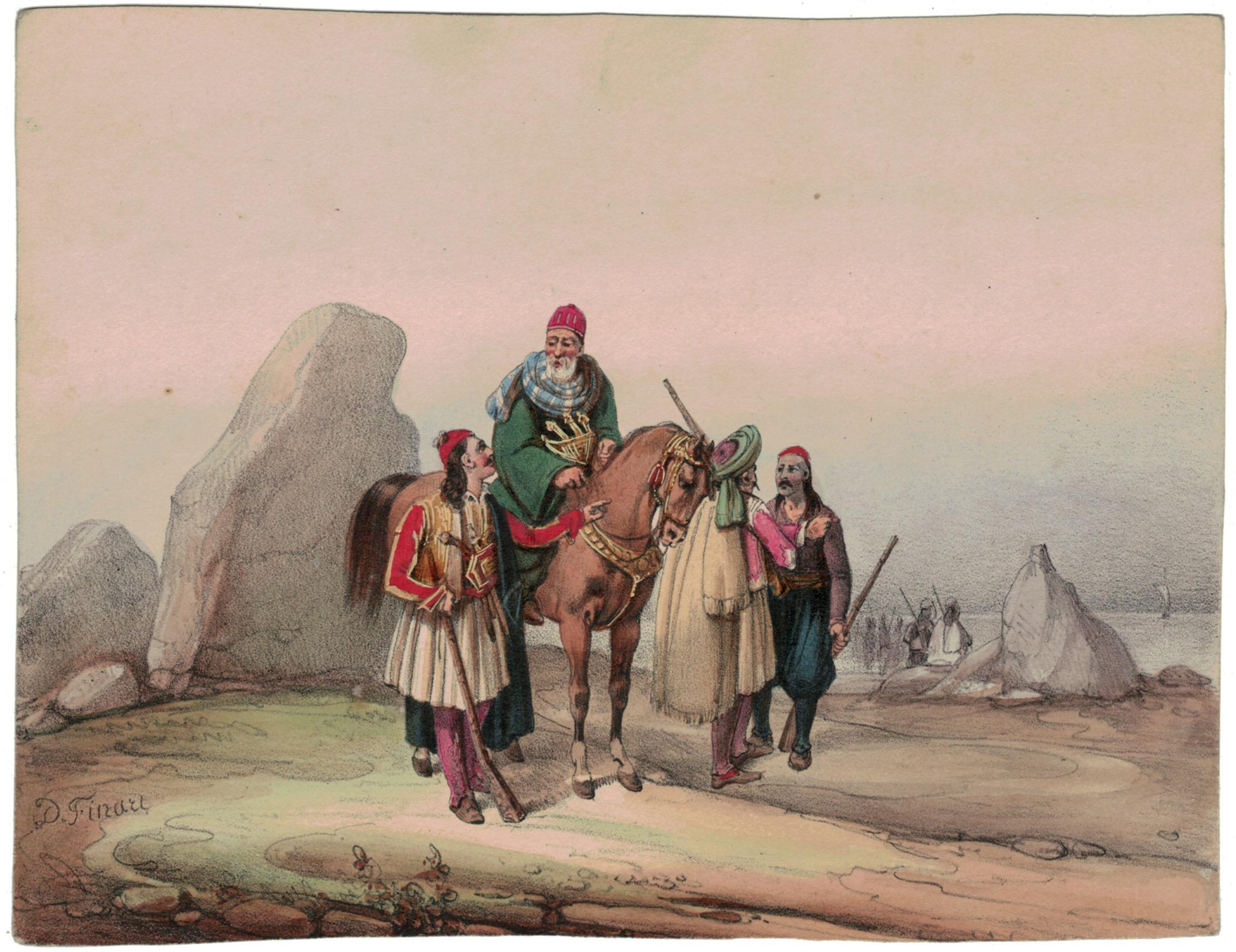 Gravure XIX - Cavalier - Guerres Napoléoniennes - 1812 - Napoléon I - Illyria - Copte - NOËL-DIEUDONNÉ FINART (1797 - 1852)