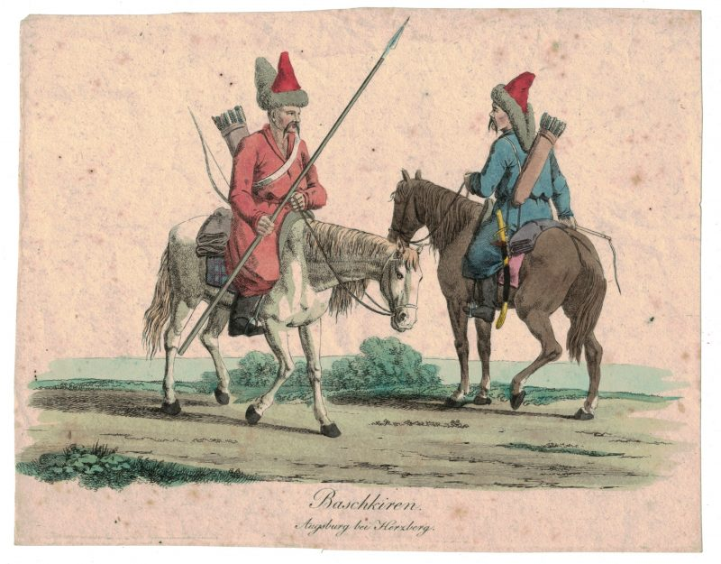 Gravure XIX - Cosaques - Russie - Cavalier - Guerres Napoléoniennes - 1812 - Napoléon I - Borodino - Baschkiren