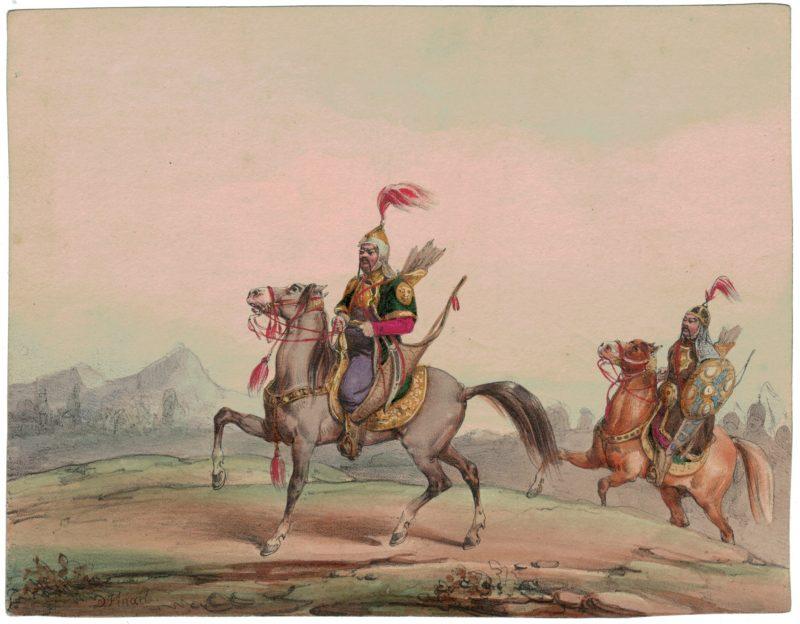 Gravure XIX - Cosaques - Russie - Cavalier - Guerres Napoléoniennes - 1812 - Napoléon I - Borodino - Bashkir - Kirghize - NOËL-DIEUDONNÉ FINART (1797 - 1852)