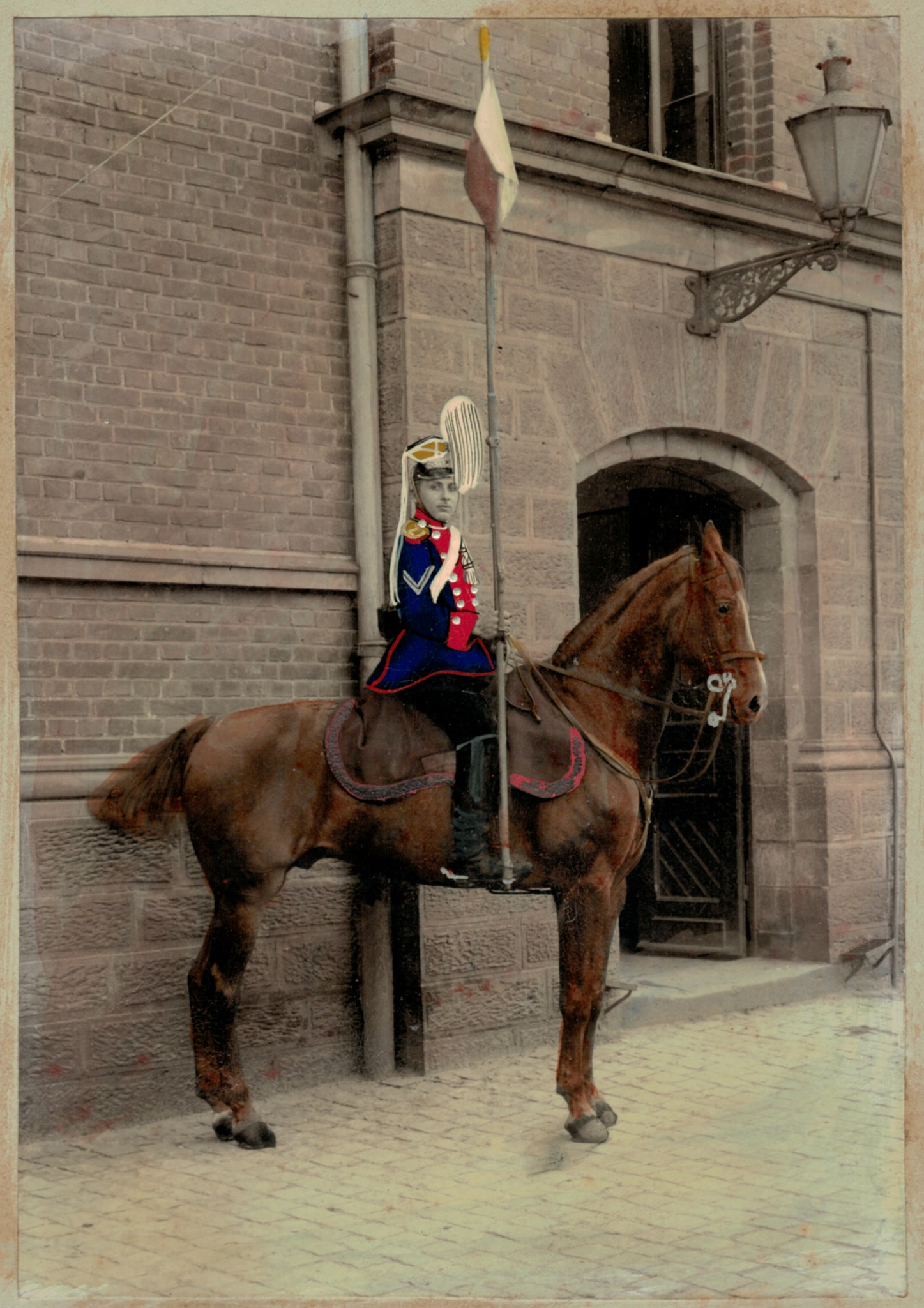 Grande Photo Soldat Allemand - Armée Cavalerie - Grande tenue - Uhlan - Sabre - Saarbrücke - Ulanen-Regiment Großherzog Friedrich von Baden Nr.7