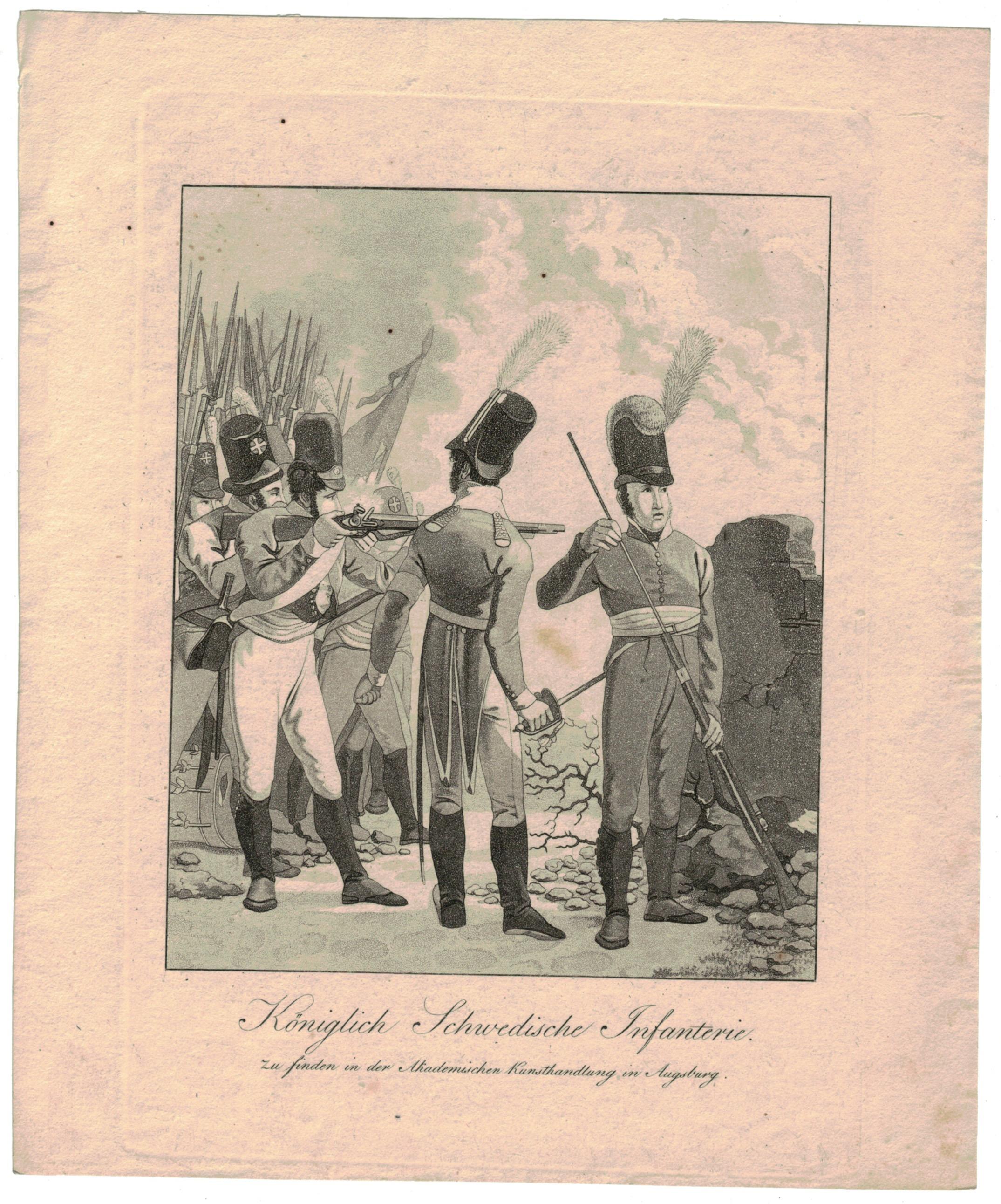Gravure XIX - SEELE, VOLZ und EBNER - Troupes Suédoises - Infanterie - Uniforme - 1er Empire - Cira 1810