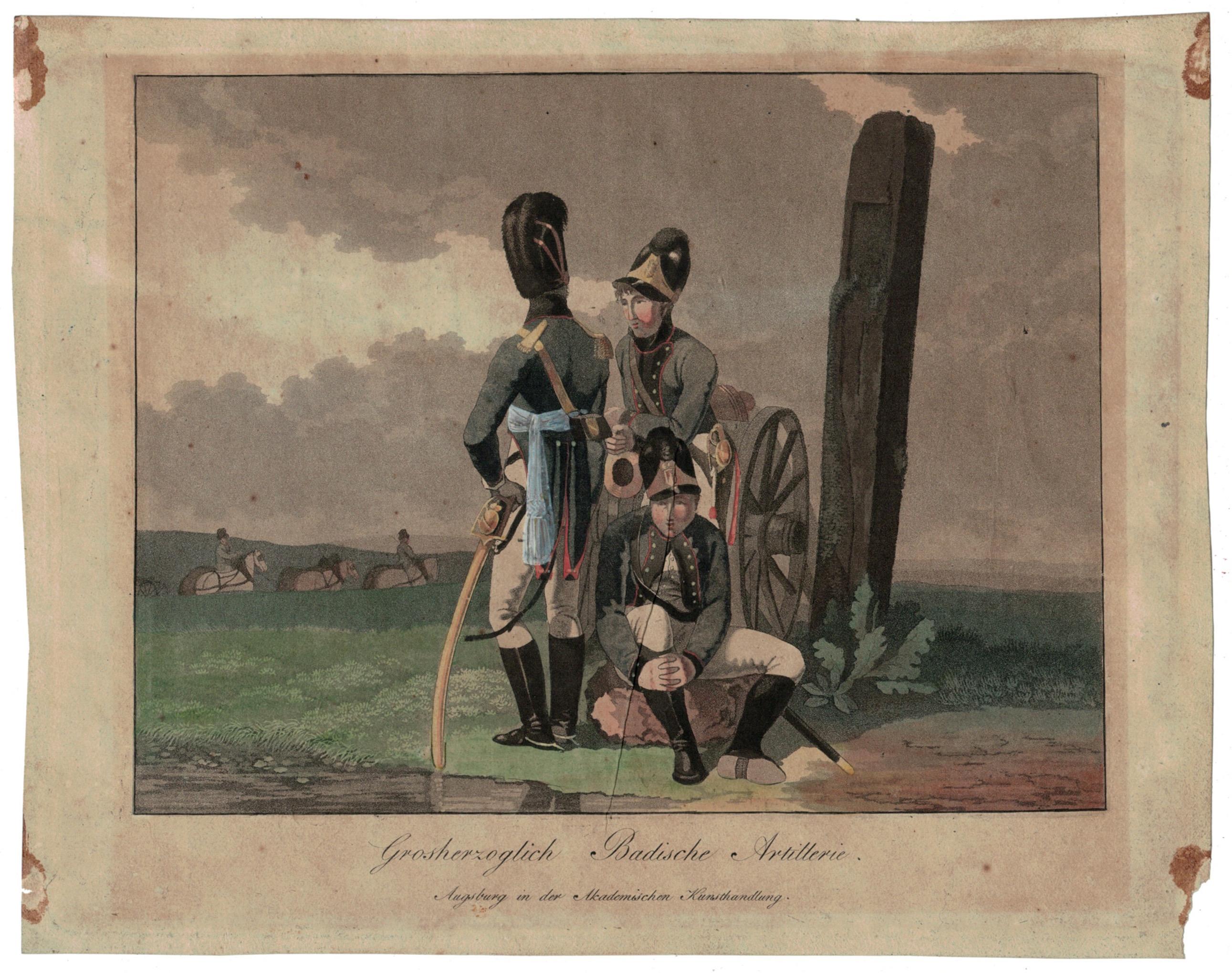 Gravure XIX - SEELE, VOLZ und EBNER - Troupes Badoises - Artillerie - Uniforme - 1er Empire - Circa 1810