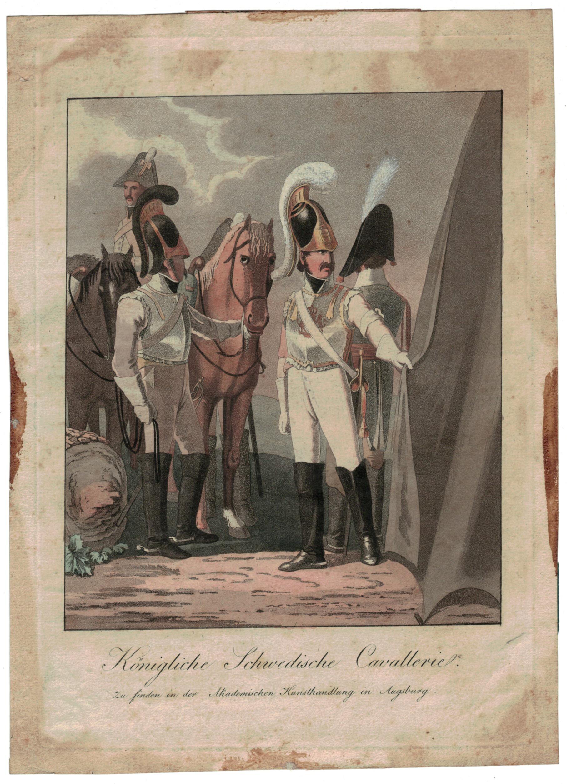 Gravure XIX - SEELE, VOLZ und EBNER - Troupes Suédoises - Cavalerie - Uniforme - 1er Empire - Circa 1810