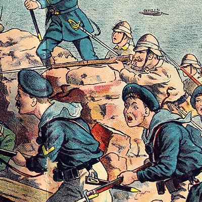 Planche imagerie - Neu-Ruppin, Bei Oehmigke & Riemschneider - Fin XIX - Der Krieg in China - Die Eroberung von Taku - 1900