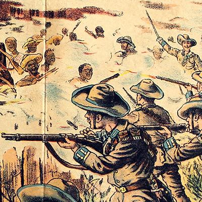 Planche imagerie - Neu-Ruppin, Bei Oehmigke & Riemschneider - Fin XIX - Deutsch Südwest Afrika - Herero Krieg - Kampf von Omaruru