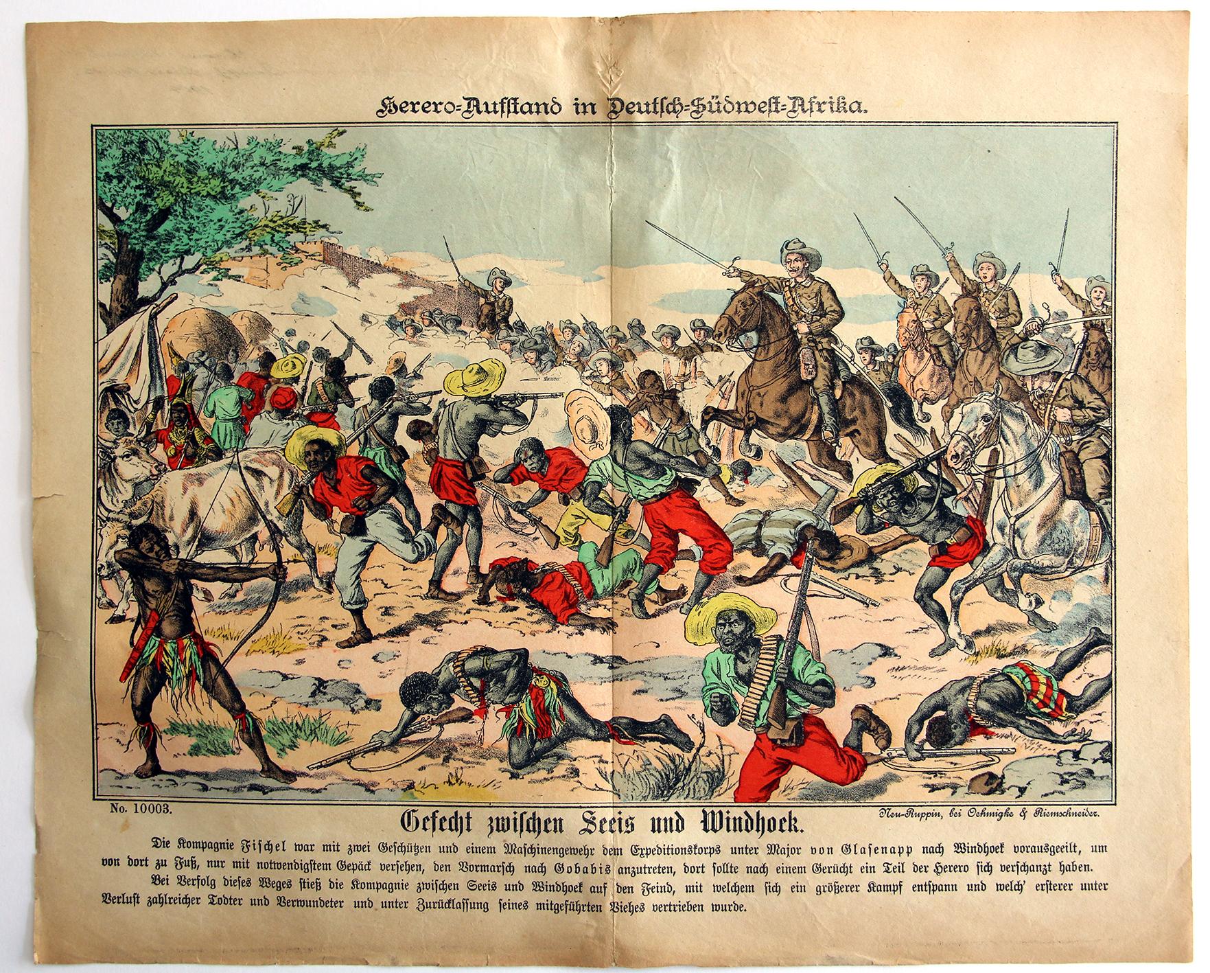 Planche imagerie - Neu-Ruppin, Bei Oehmigke & Riemschneider - Fin XIX - Deutsch Südwest Afrika - Herero Krieg - Gefecht zwischen Seeis und Windhoek