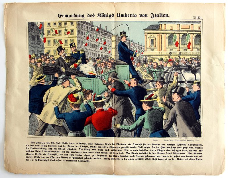 Planche imagerie Wissembourg - C.Burckardt - Italie - Assassinat du Roi Umberto - Le roi d'Italie Humbert 1er le Bon - Monza - 1900