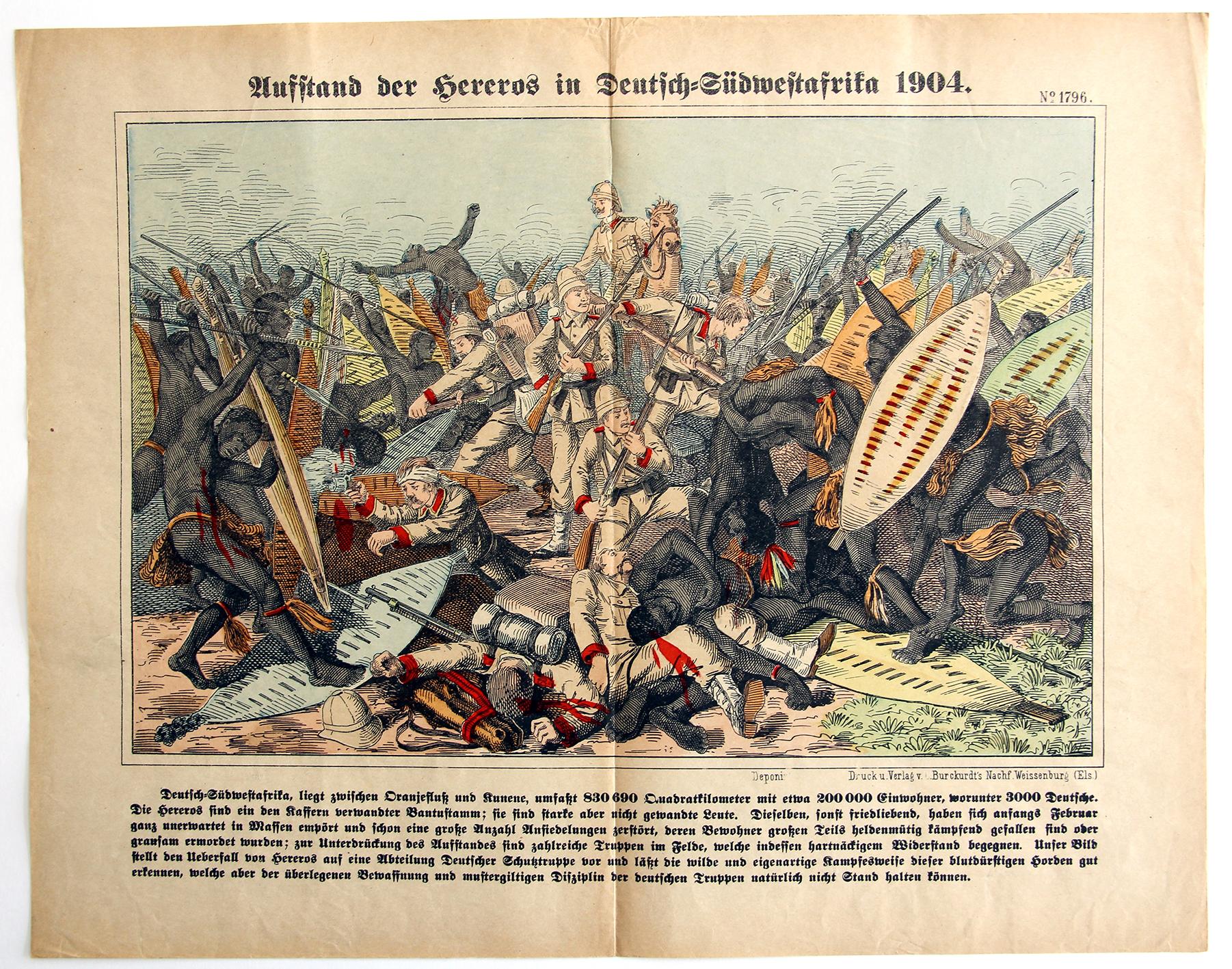 Planche imagerie Wissembourg - C.Burckardt - Ausstand der Hereros - Allemagne Colonie - Imagerie Populaire - 1904 - Deutsch-Südwestafrika