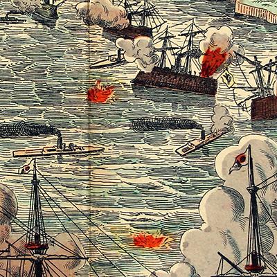 Planche imagerie Wissembourg - C.Burckardt - Guerre de Chine - Guerre sino-japonaise (1894-1895) - Japon - Flotte - Korean Bay