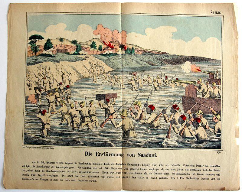 Planche imagerie Wissembourg - C.Burckardt - Assault de Saadani - Empire Allemand - Abushiri - Allemagne Colonie - Imagerie Populaire -