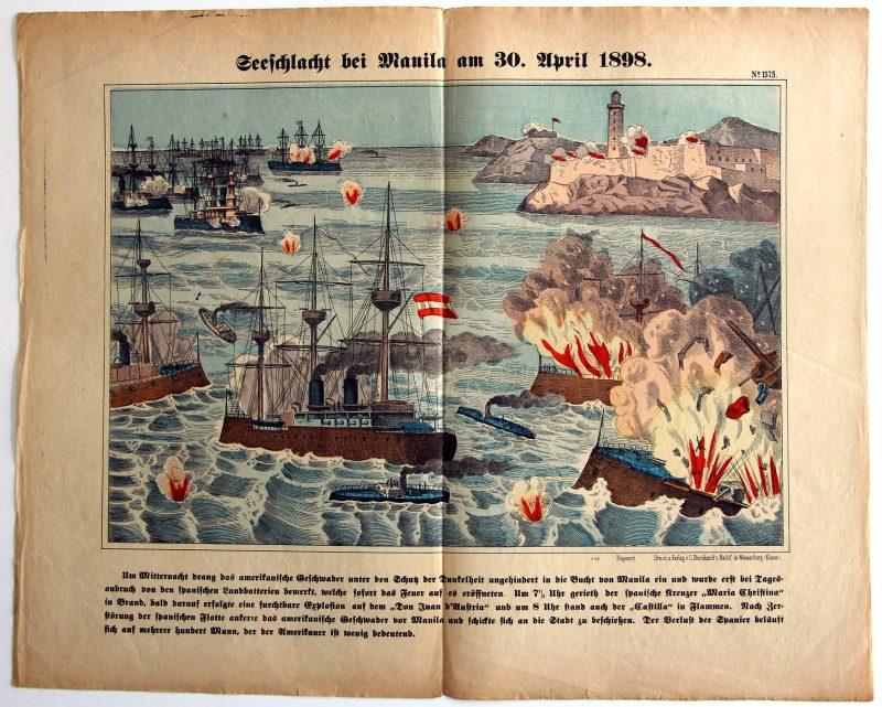 Planche imagerie Wissembourg - C.Burckardt - Bataille Navale de Manila 30 avril 1898 - Espagne - Etats-Unis - Bataille de la baie de Manille - Guerre hispano-américaine.