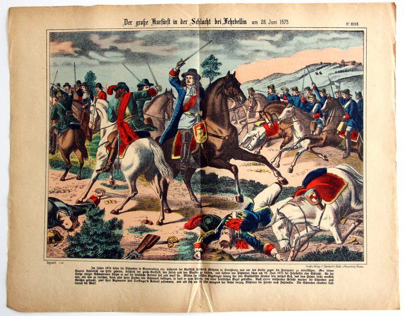 Planche imagerie Wissembourg - C.Burckardt - Der GroBe Kurfürst in der Schlacht bei Fehrbellin - 28 juin 1675 - Commandants Frédéric-Guillaume Ier de Brandebourg