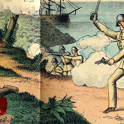 Planche imagerie Wissembourg - C.Burckardt - La bataille de Tanga - Allemagne Colonie - Imagerie Populaire - 1889