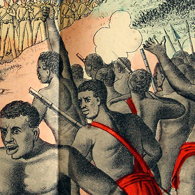 Planche imagerie Wissembourg - C.Burckardt - La bataille de Bagamoyo - 22 septembre 1888 - Abushiri - Allemagne Colonie - Imagerie Populaire