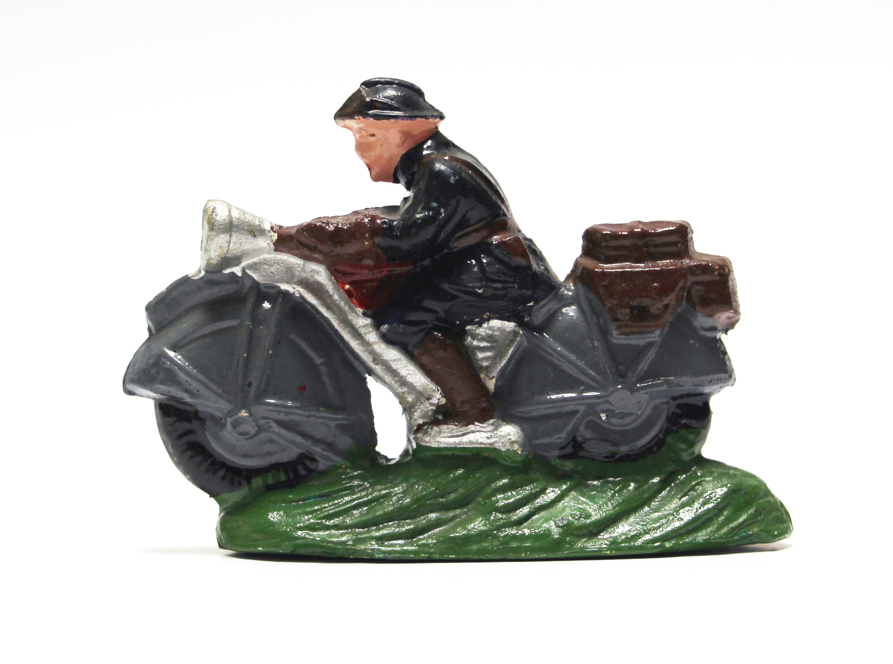 Ancienne Figurine Composite Armée Soldat - Plâtre - Motard - Moto - Soldat - Armée Française - 1940