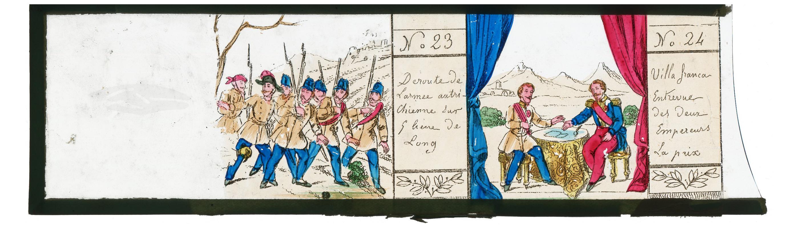 3 plaques de verre - Lanterne magique - XIX - Campagne d'Italie - 1859 - Napoleon III - Uniforme - Soldat -