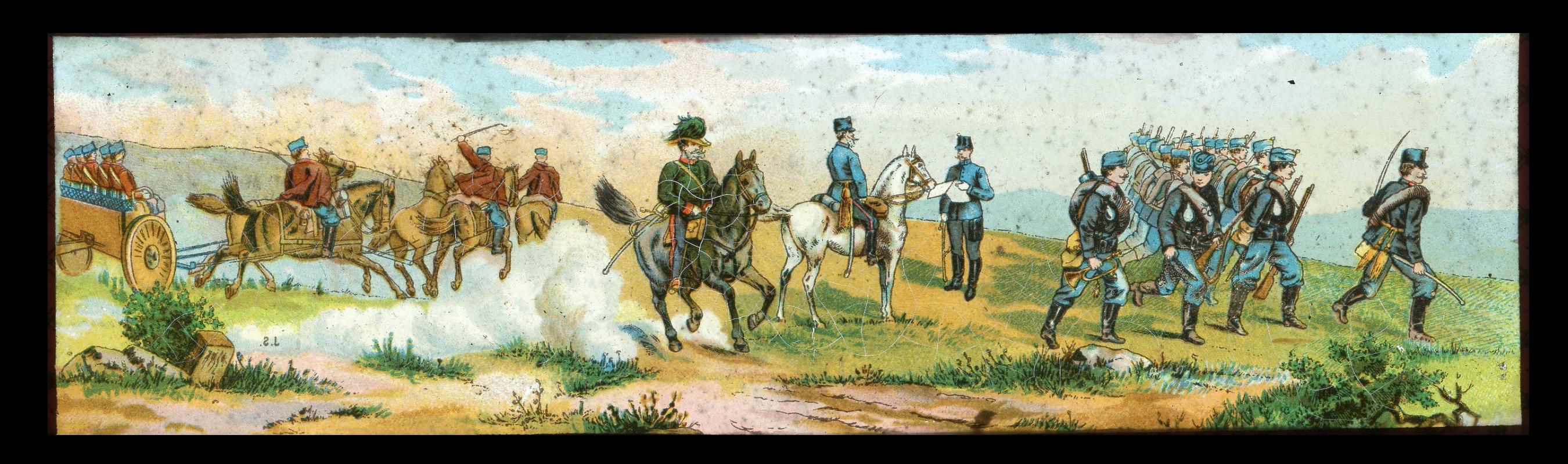 6 plaques de verre - Lanterne magique - XIX - Mes Armées Européennes XIX - Prusse - Angleterre - Italie - En campagne - Uniforme