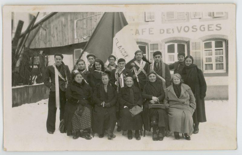 2 Carte Photo papier originale - Conscription Classe 1940 - Conscrit militaire - Soldat - drapeau - Tirage au sort - Alsacien - Folklore