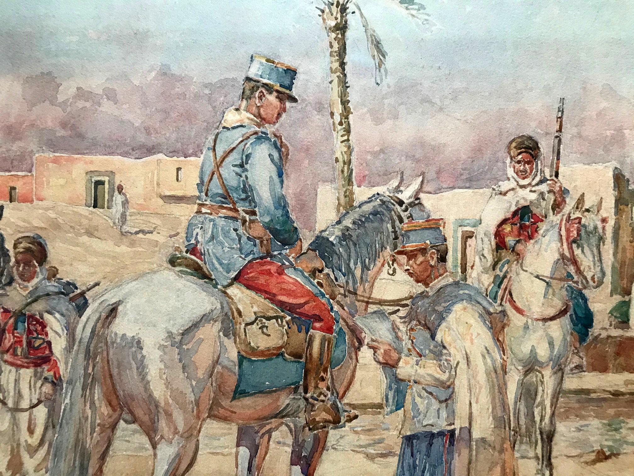 Grand Gouache Aquarelle - Soldat 1940 - Uniforme - Compagnie saharienne - Spahis à l'arrêt - Algérie - Sahara