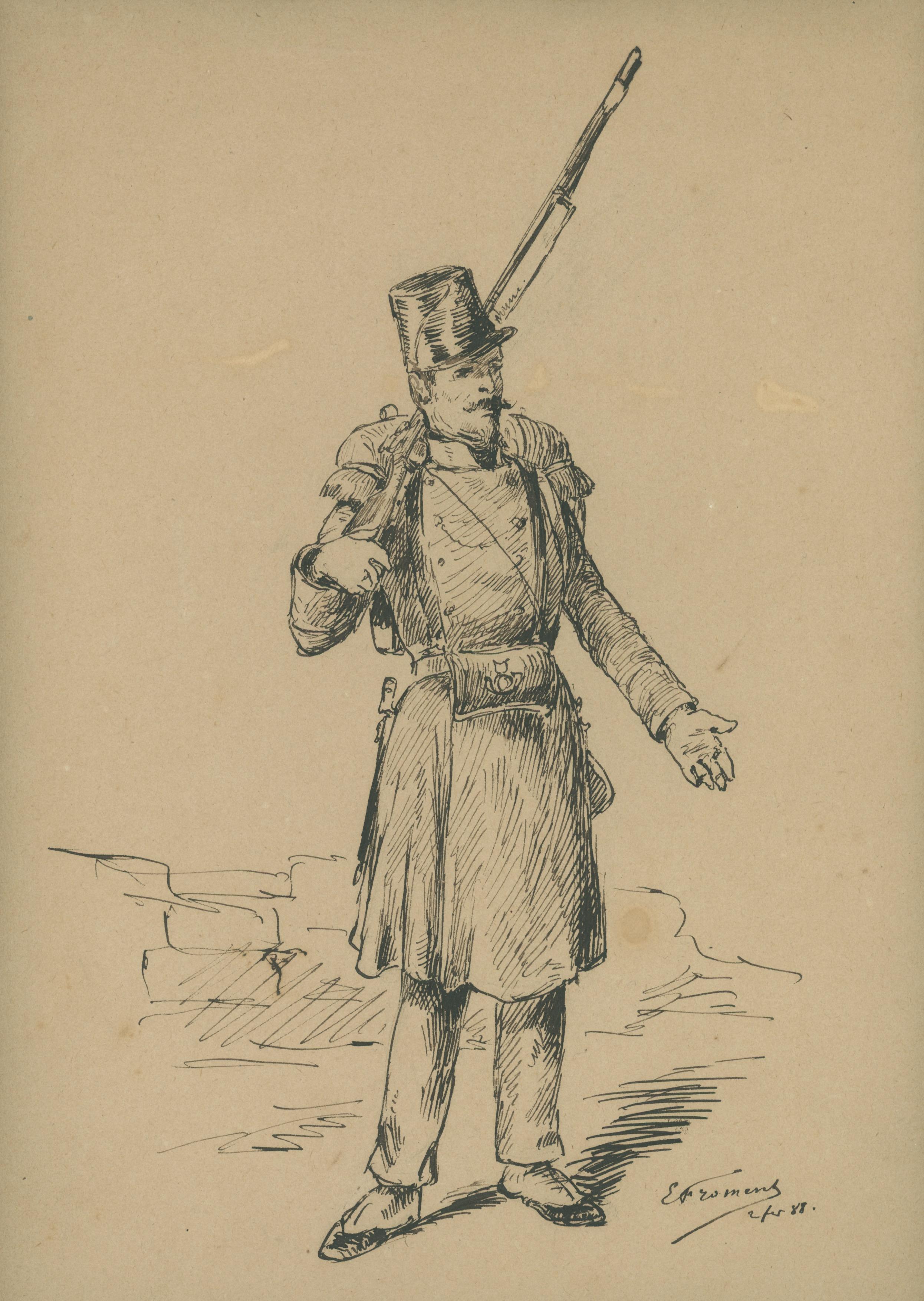Dessin crayon plume encre - Soldat Infanterie Algérie Campagne - Uniforme - Campagne Algérie - Monarchie de Juillet