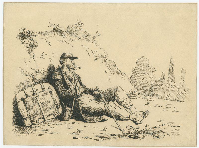 Dessin crayon plume encre - Soldat Infanterie - Uniforme - Campagne Crimée / 1870- Second Empire