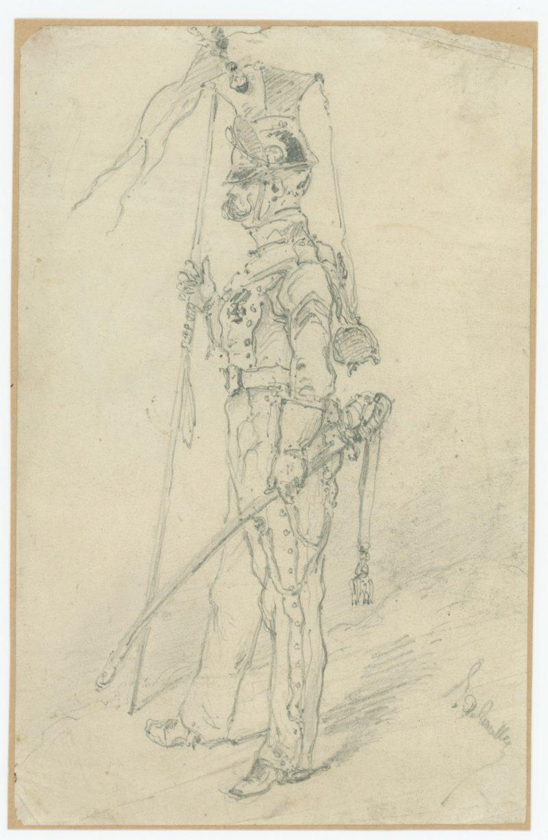 Dessin crayon - Lancier - 1830 - Uniforme - Monarchie - Restauration